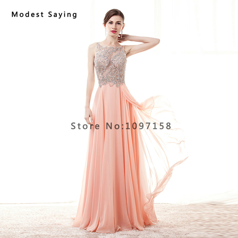 58c955cc92 US $270.0 10% OFF Luxury Sexy Illusion Back Coral A line Sparkly Beaded  Evening Dresses 2017 with Rhinestone Women Party Prom Gowns robe de  soiree-in ...