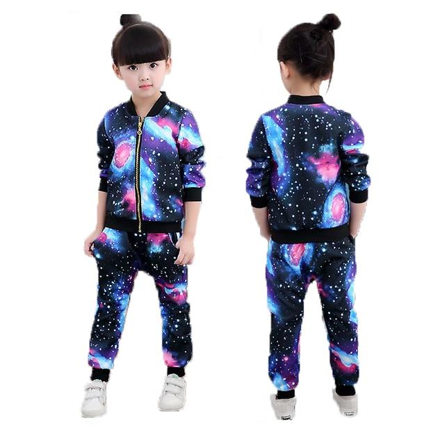 Girls Clothing Sets 2019 Children Fashion Active Jackets Zipper Coat And Pant Set Kids Clothing Autumn Sports Suit Tracksuit