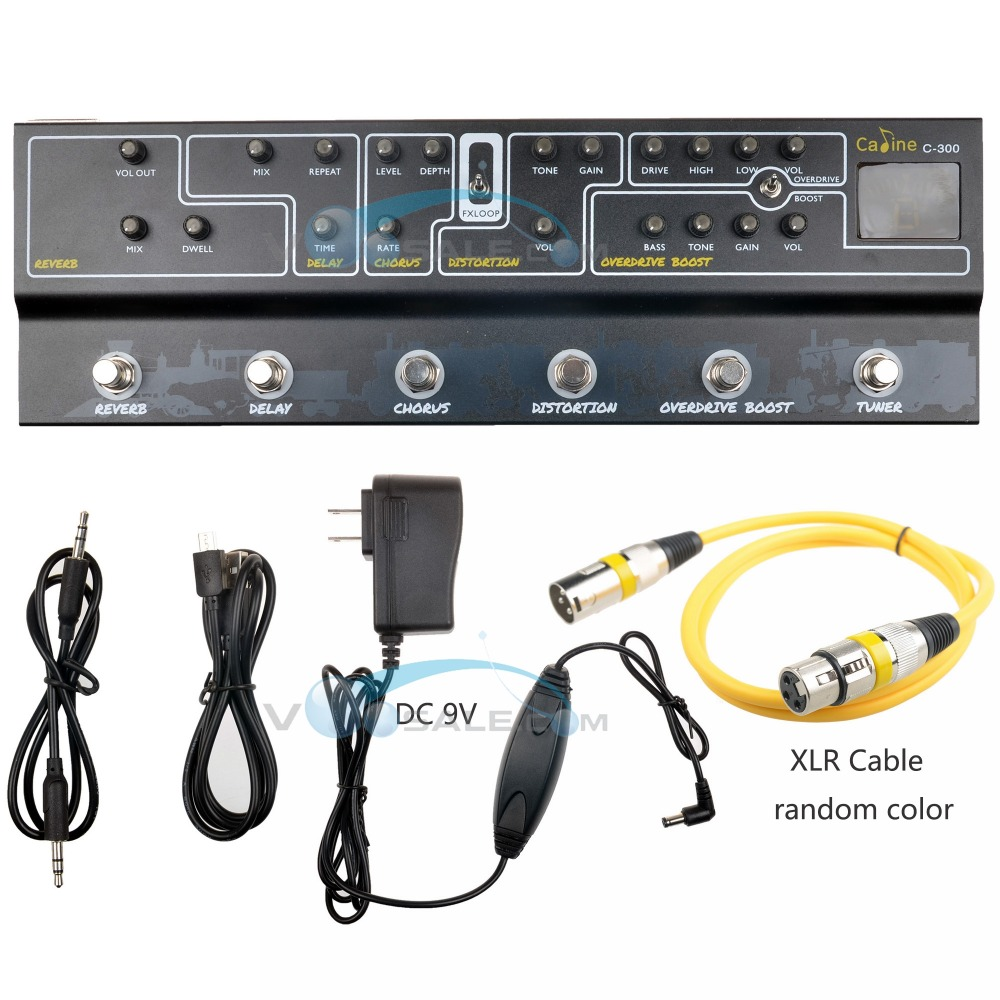 Caline C300 Multi Effects Pedal 9V Tuner Amp Modelling Guitar Pedal Effect Guitar Accessories Guitar Parts With XLR Audio CableCaline C300 Multi Effects Pedal 9V Tuner Amp Modelling Guitar Pedal Effect Guitar Accessories Guitar Parts With XLR Audio Cable