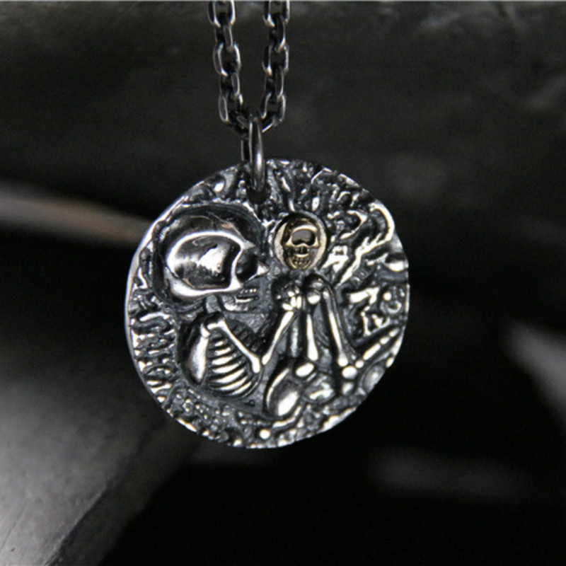 Skull Pendant Vintage Skeleton Pendants Silver Necklace For Women Dress Accessories 925 Sterling Jewelry Fashion