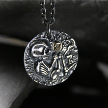 Skull Pendant Vintage Skeleton Pendants Silver Necklace For Women Dress Accessories 925 Sterling Silver Jewelry Fashion цена
