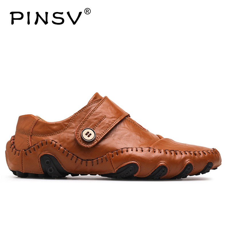 PINSV Leather Shoes Men Loafers Causal Sneakers Men Footwear Men Shoes Luxury Brand Autumn Summer Shoes Plus Size 38-47