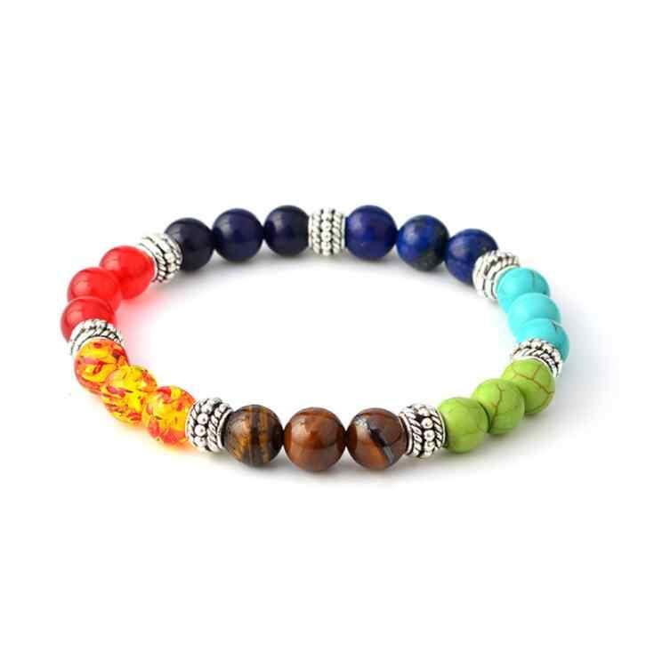 Di modo Multicolore 7 Chakra Guarigione Bilanciamento del Borda il Braccialetto Yoga Vita di Energia Bracciali In Pietra Naturale per le Donne Degli Uomini casual Gioielli
