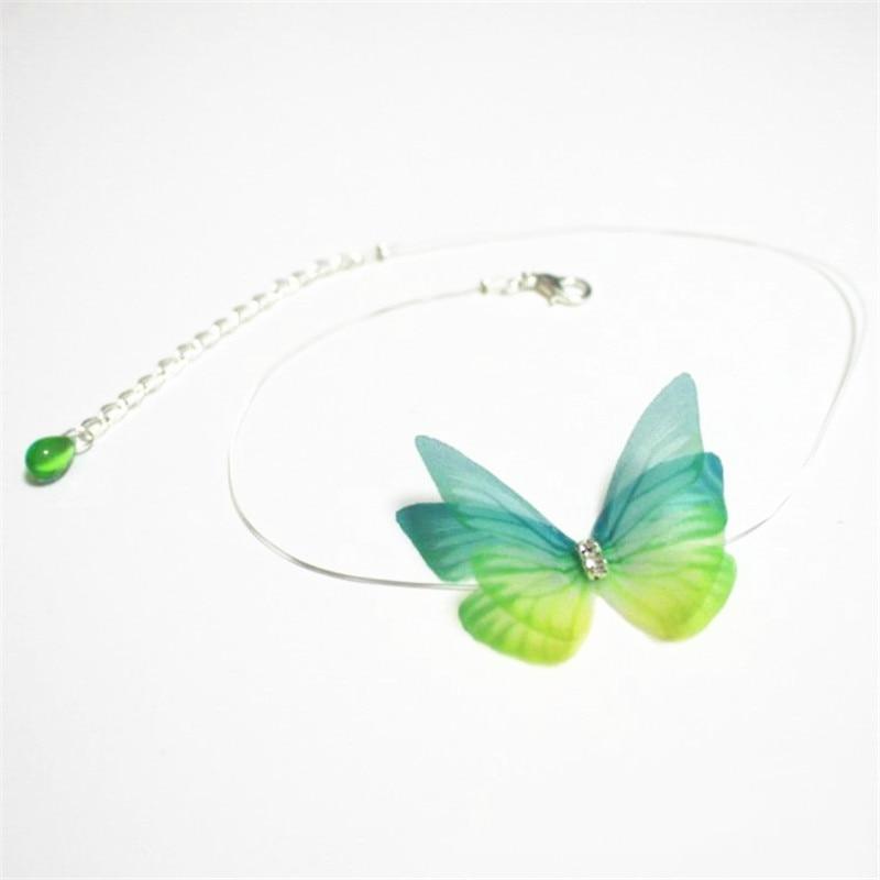 Osynliga färgglada 3D-garn fjäril Crystal Choker halsband Fishline Silk mode smycken för kvinnor gåva