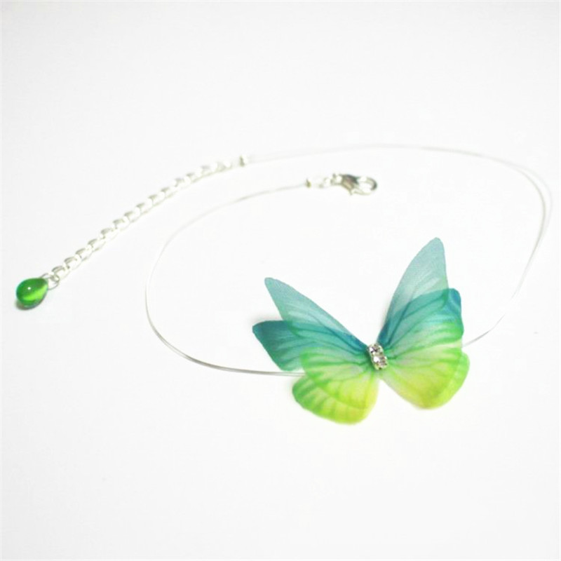 Nevidljivi šareni 3D pređa Leptir Kristalni Choker ogrlica Fishline Svila Modni nakit za žene Poklon