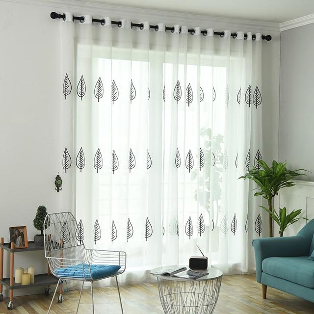wit sheer gordijnen home decor geborduurde tule stof nordic stijl zwarte bladeren keuken gordijn