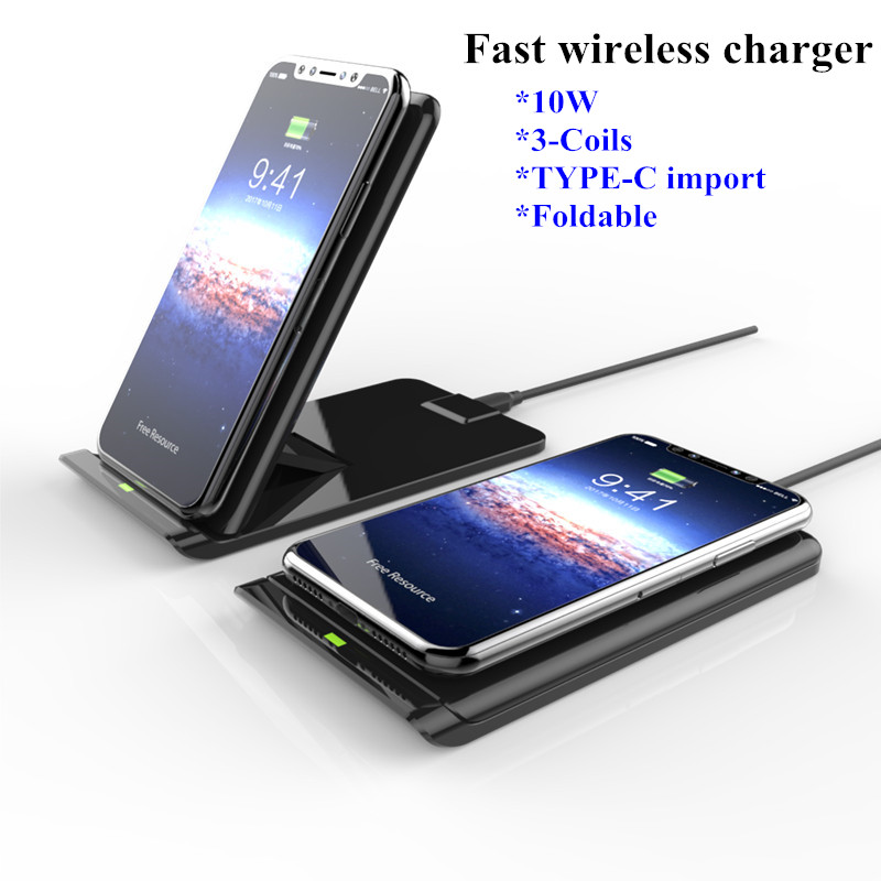 fast wireless charger pad for iphone 8 plus x 10w foldable. Black Bedroom Furniture Sets. Home Design Ideas