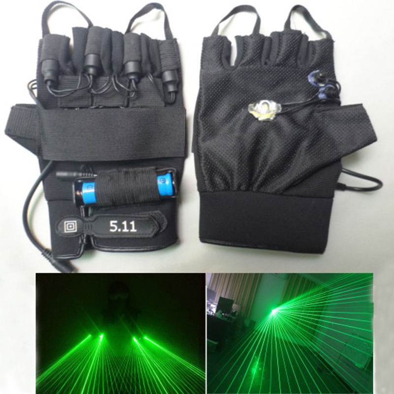 100 пучков многолучевая лазеры Перчатки зеленый 532nm лазерный модуль/Лазер диода диско DJ зеленый лазер перчатки Событие и Партия поставки