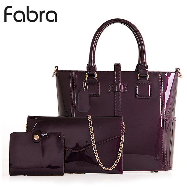 Fabra New Patent Leather Women Messenger Bags Tote Bag Handbags Brands Lacquered Red