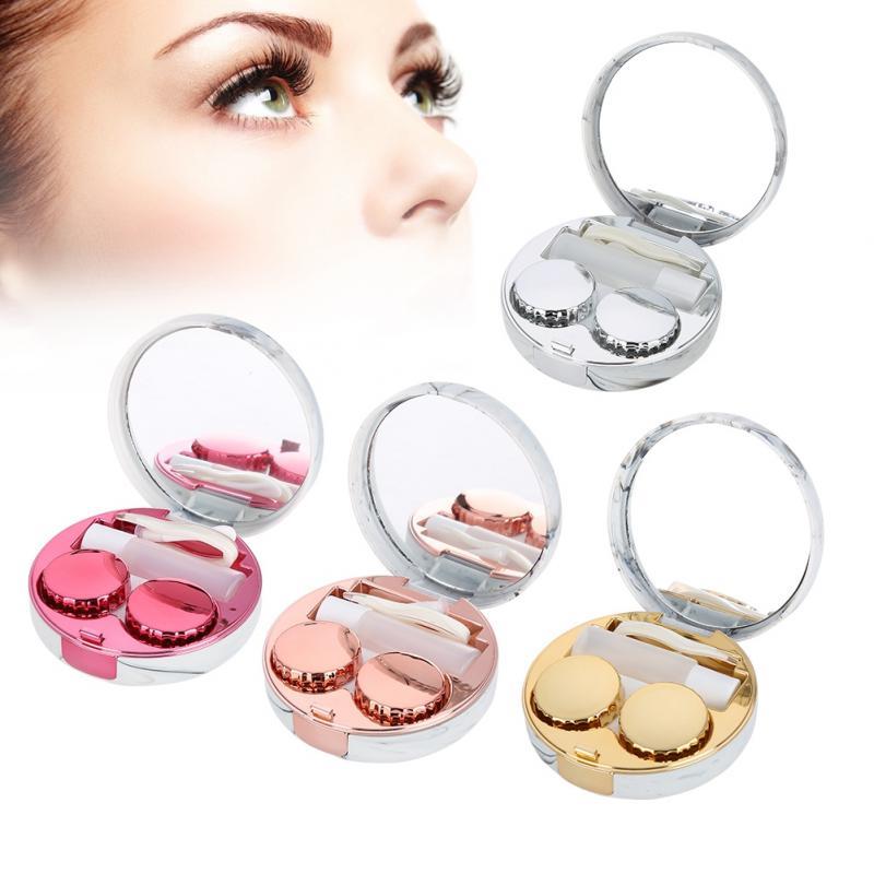 4 Colors Contact Lenses Soaking Case Portable Plastic