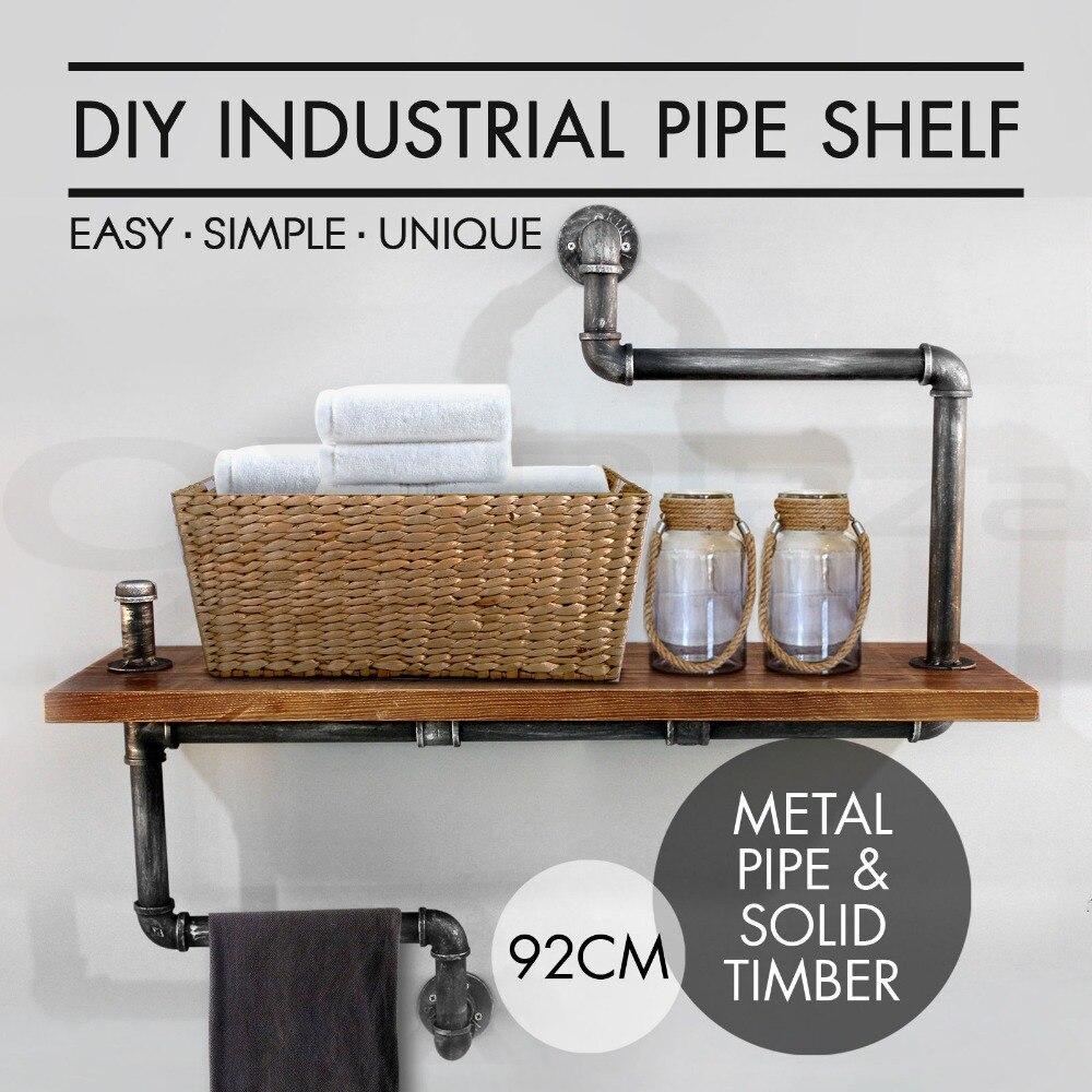 DIY Industrial Bathroom Storage Pipe Shelf/Towel Rack Wooden Wall Floating Display Rack Rustic Home Bedroom Decoration Bookshelf
