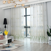 European style embroidered design home decoration modern curtain tulle fabrics organza sheer panel window treatment white