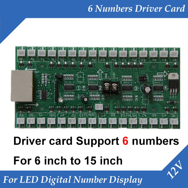 6 Numbers Driver Card Use For Gas Oil Price LED Display Control Board Use For 6 Inch To 15 Inch Led Digital Number Module