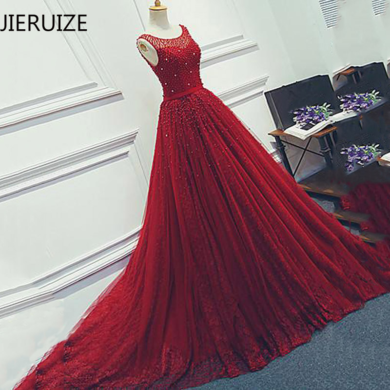 JIERUIZE Red Wedding Dresses 2019 Red Lace Pearls Bridal Dresses A-line Court Train Wedding Gowns Robe De Mariee