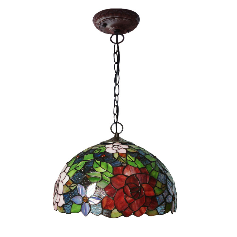 Rustic Rural Antique Art Deco Colourful Stained Glass Tiffanylamp Bedroom Living Dining Room Hanging Pendant Light Lamp Kitchen in Pendant Lights from Lights Lighting