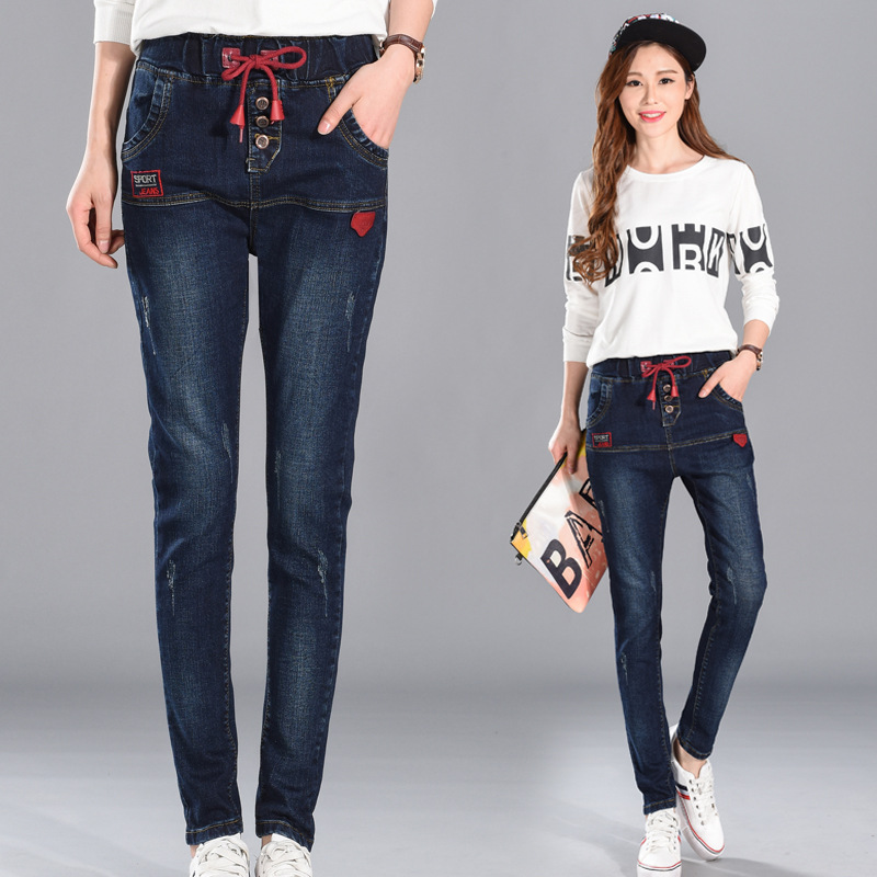 Women Spring Summer Elastic Waist Loose Jeans 2017 Large size High Quality Slim-type Denim Trousers New Female Denim Pants plus size pants the spring new jeans pants suspenders ladies denim trousers elastic braces bib overalls for women dungarees
