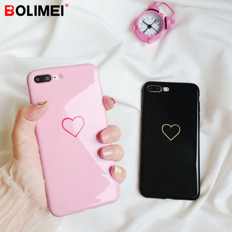 Fashion Couples Love Heart TPU Soft Silicone Back Case For iPhone X 10 8 7 6 6S Cover Cases For iPhone 6 6s 7 8 Plus Cases