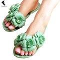 News Sweet elegant Bohemia Flowers Shoes Womans girl Beach Flip Flops Summer Sandals famale comfort Slippers leisure daily open