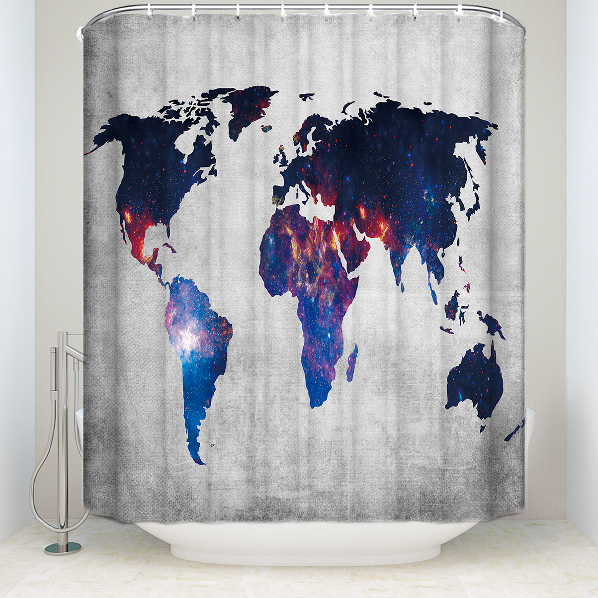 Cloth World Map Shower Curtain - Year of Clean Water
