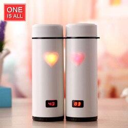 Jeden to wszystko 360ML Love Heart kubek kawy butelka termosowa cyfrowy wyświetlacz LED butelka termiczna ze stali nierdzewnej kubek próżniowy termometr