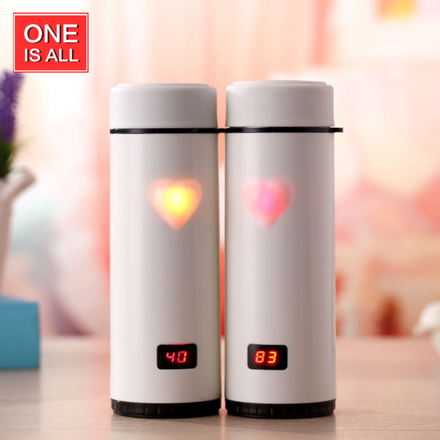 b96111d20 One Is All 360ML Love Heart Coffee Mug Thermos Bottle Digital LED Display Stainless  Steel Thermal Bottle Vacuum Cup Thermometer