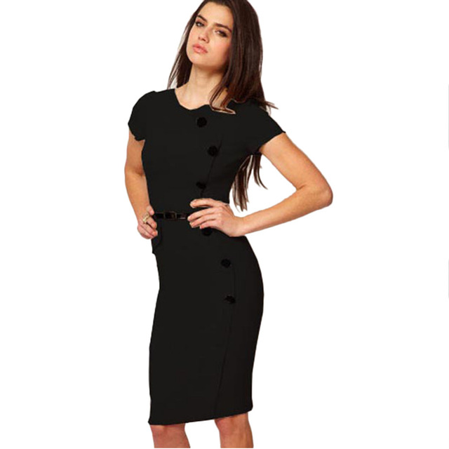 Oxiuly European American Style Elegant Noble Ladies Career O-Neck Button Knee-Length Pencil Bodycon Dress Plus Size XS-XXXL
