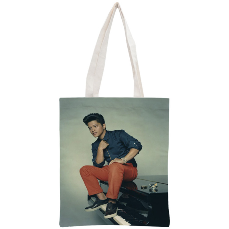 Custom Bruno Mars Tote Bag Reusable Handbag Women Shoulder Foldable Cotton Canvas Shopping Bags