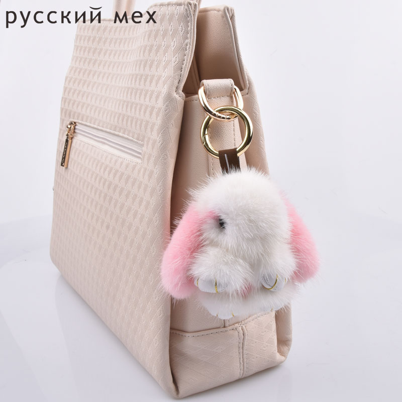 mini fur rabbits girl keychains real mink 8cm bunny keychain fur key chains bags bunnies Trinket pompon fur hare phone penda ...
