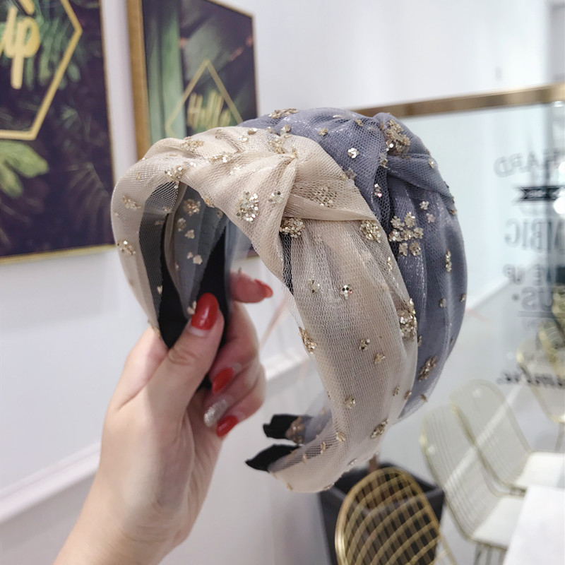 2019 New Fashion Bohemian Gold Glitter Taffeta Knot Hairband Hair Headband Hair Accessories Jewelry