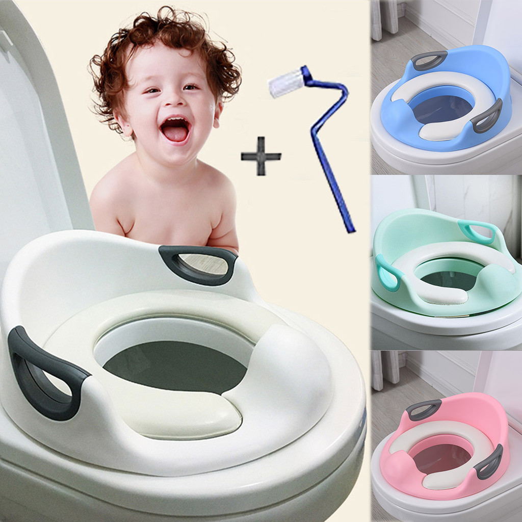 Potty Trainer Toilet Chair Seat For Kids Boys Girls /& Toddlers Cushion Handles