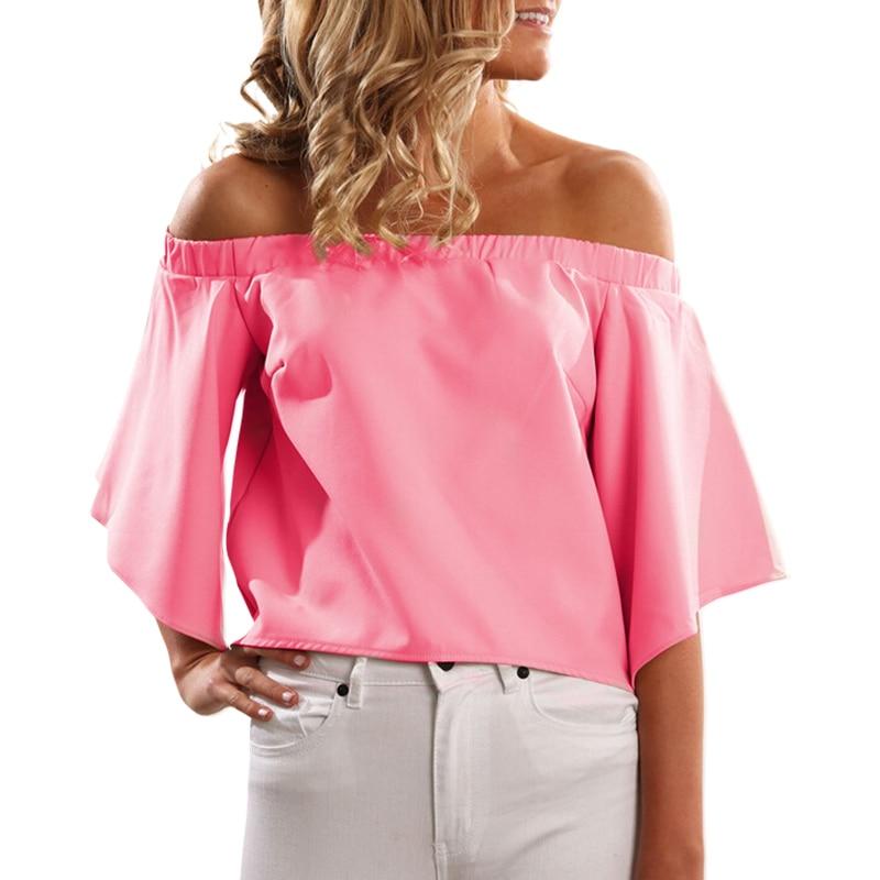 Summer Blouse shirt women Slash Neck Wrapped Chest Loose Top Back Split Womens Shirt Off the Shoulder Ladies Top LJ4366M