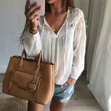 2016 Sexy Fashion Women's White Lace Blouse Tops Tee Long Sleeve Shirt Casual Sexy V Neck Blouse Loose Shirt Blusas sw843_L