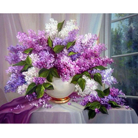 Patterns Rhinestones Lilac Flowers 5d Diy Diamond Painting Needlework Kits Diamond Embroidery 3D Full Round Mazayka