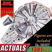 DHL LEPIN 05007 Star Series Building Blocks 1381pcs Toy Children War Awakens Millennium Falcon Brick Model