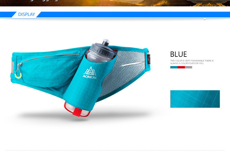 Foto of blue color sport's hydration belt for phone. Unisex pack phone holder for fitness