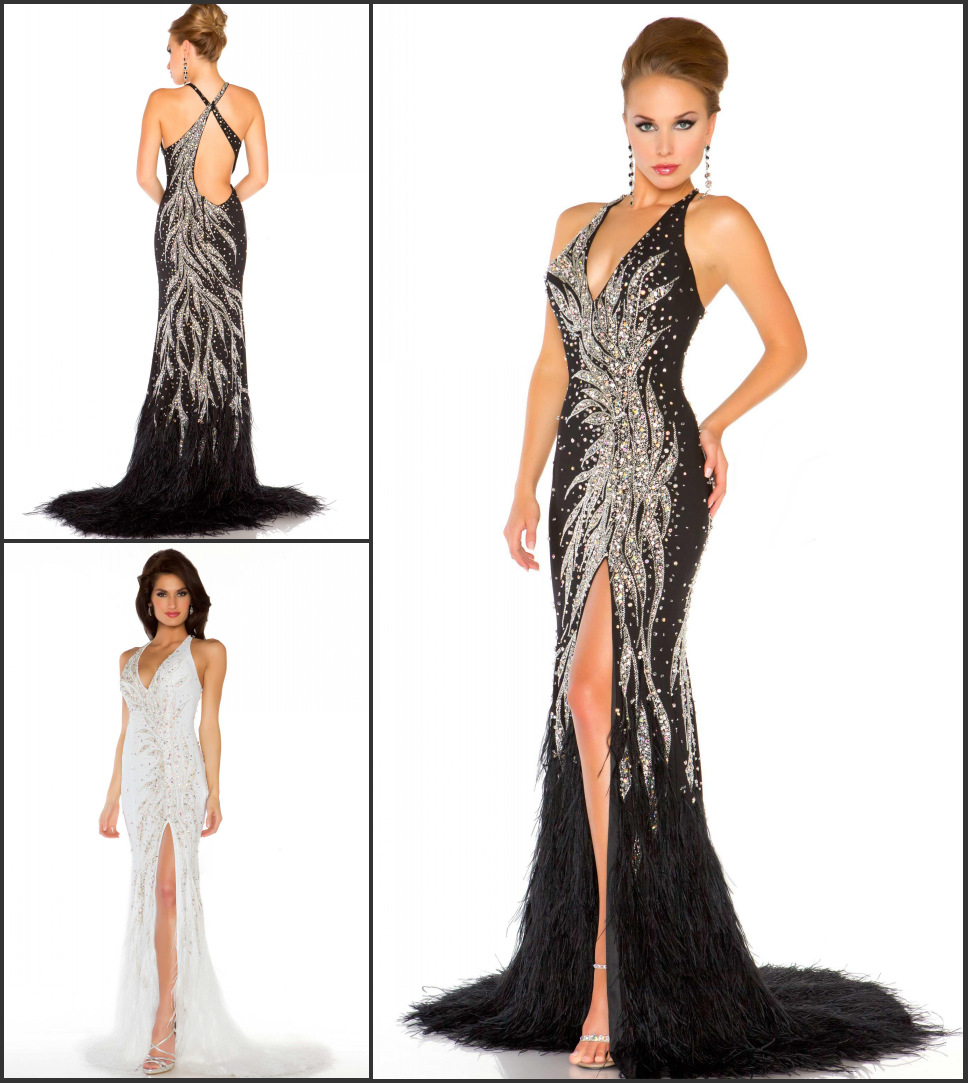 Expensive Top Quality Black White Full Crystal Mermaid Gown