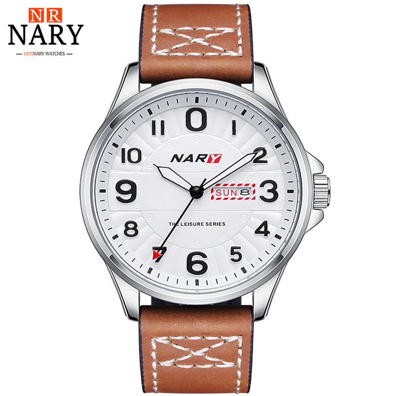 NARY Men Wrist Watch Man Top Brand Luxury Male Leather Strap Watches Army Military Men's Casual Quartz Wristwatch Relojes Hombre