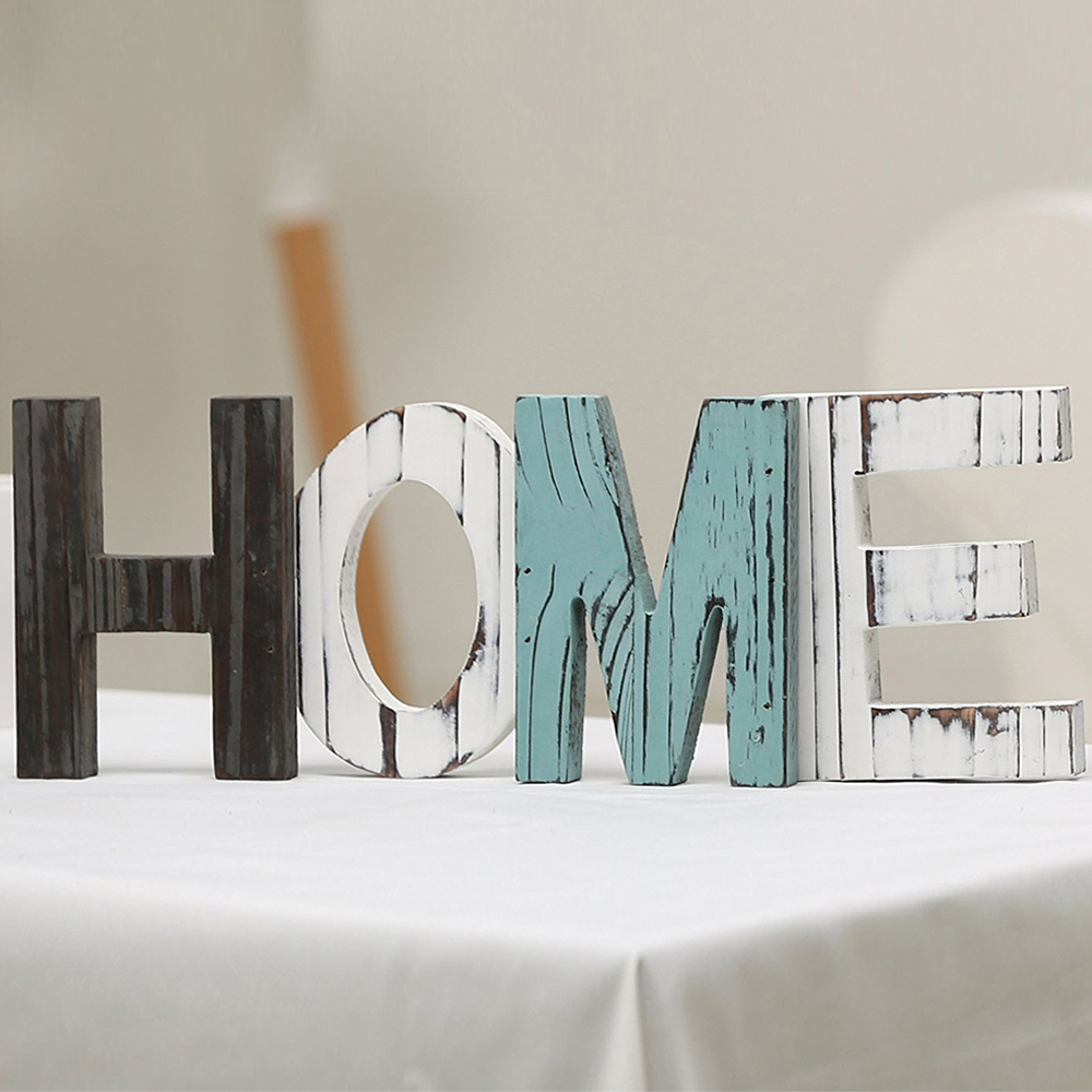 Multi color Wood HOME Letter Decorative Sign Standing Cutout Word ...