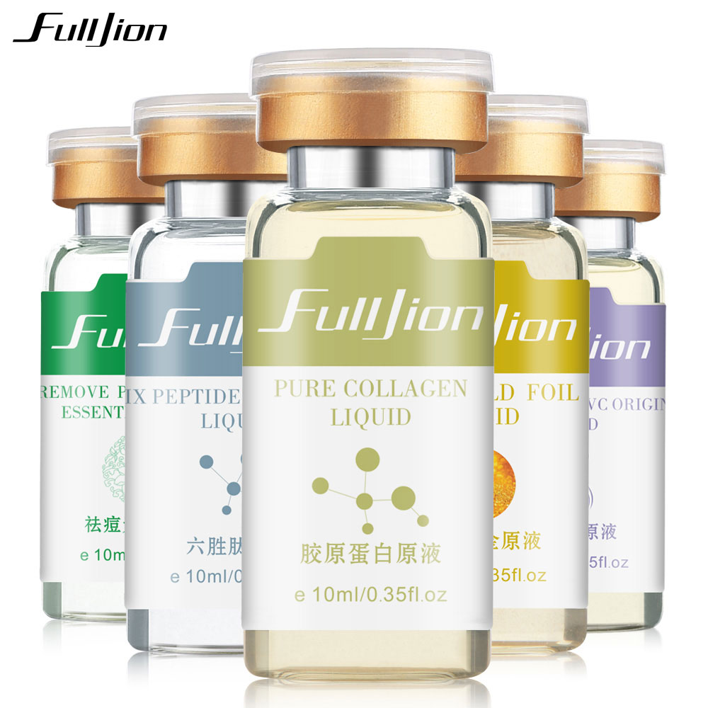 Fulljion 5 Bottles/Set Hyaluronic Acid Collagen Six Peptides Nano Gold Scar Remove VC Pure Liquid Essence Serum Face Care Tools