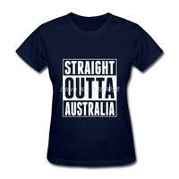 Women S Vintage Shirt Hot Sale Cheap Straight Outta Australia Tee Shirts Black Short Sleeve T