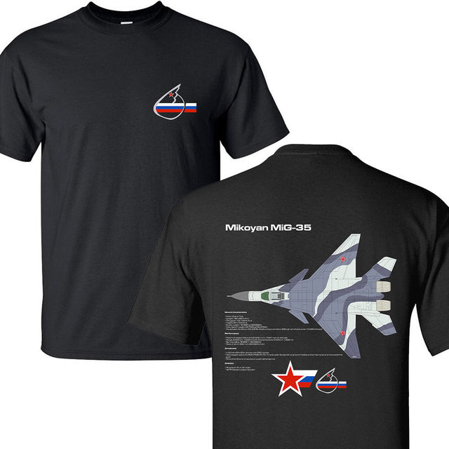 ddfd9d29 T-shirt New Summer Fashion Tee Shirt Mikoyan MiG-35 Fulcrum-F Russian Air  Force Jet Fighter BLACK T-SHIRTS S-3XL
