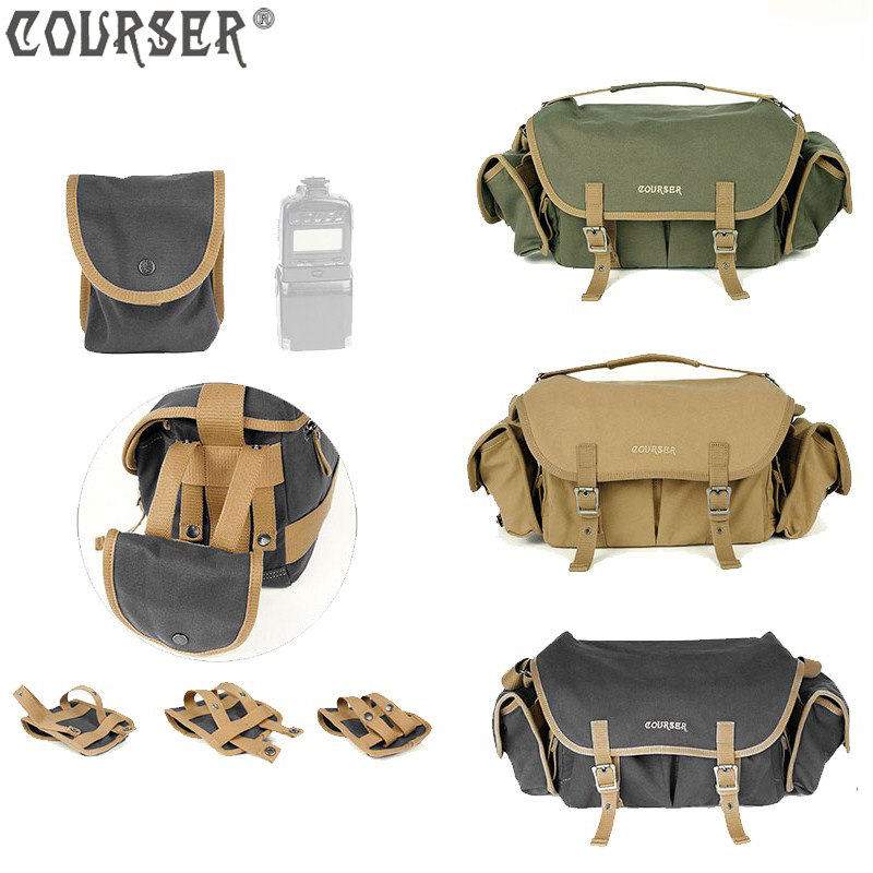Фото COURSER professional waterproof shoulder bag camera bags large capacity SLR bag canvas bag with 2 free waist pack PACPFM8101