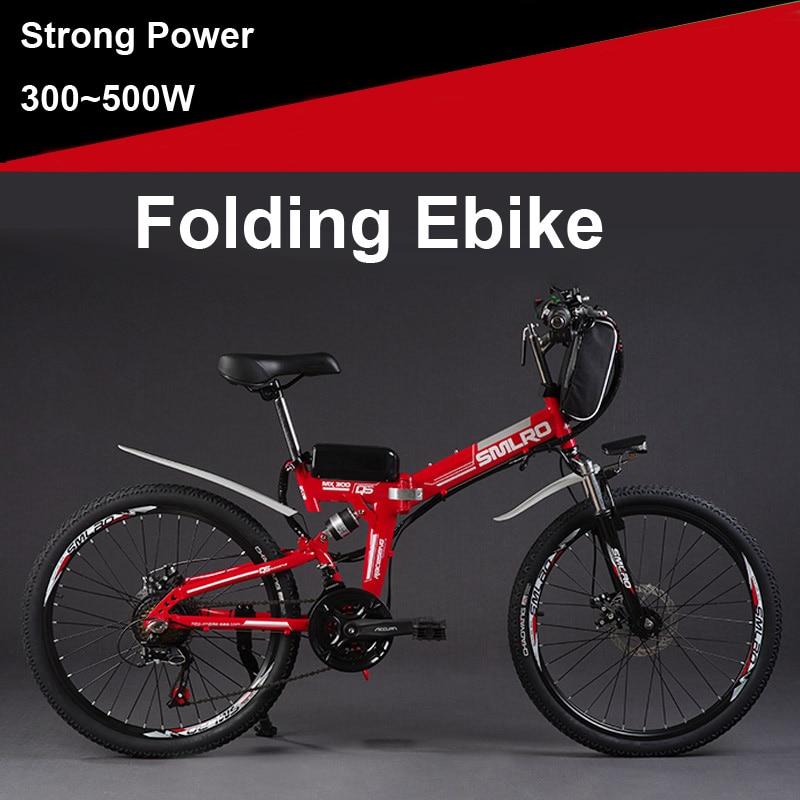 SMLRO 24 36/48V 300/500W Folding Electric Bicycle, Electric Mountain Bike, High-carbon Steel MTB E Bike