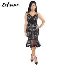 Echoine Lace Spaghetti Straps Mesh Party Mermaid Dress Black White V Neck Sheath Bodycon Elegant Plus Size S-2XL Dresses Women
