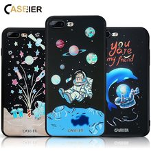CASEIER For iPhone 8 7 Plus Cases 3D Embossed Patterned Soft Silicon Covers Capa TPU Conque Shell Space Star