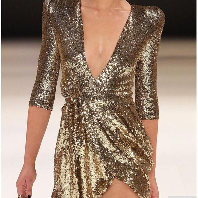 Golden Black Glitter Sequin Dress Women Half Sleeve Deep V Neck Mini