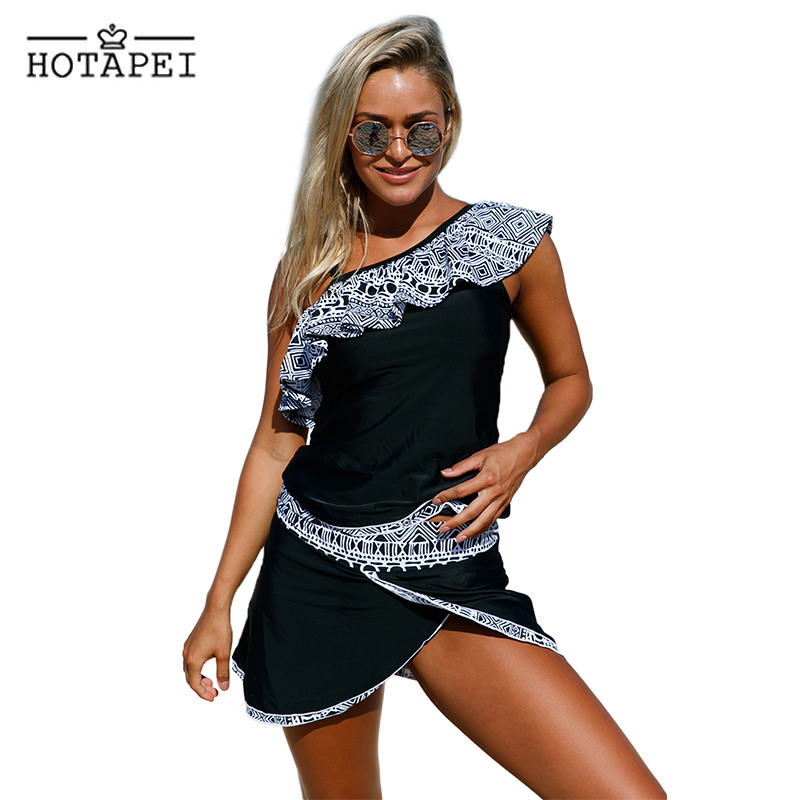Hotapei 2018 sexy Swimwear women plus size Tankini set Tribal Geometry Ruffle One Shoulder Swimsuit Push Up Bathing Suit L410201