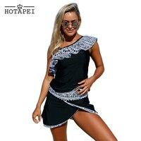 Hotapei 2019 sexy Swimwear women plus size Tankini set Tribal Geometry Ruffle One Shoulder Swimsuit Push Up Bathing Suit L410201