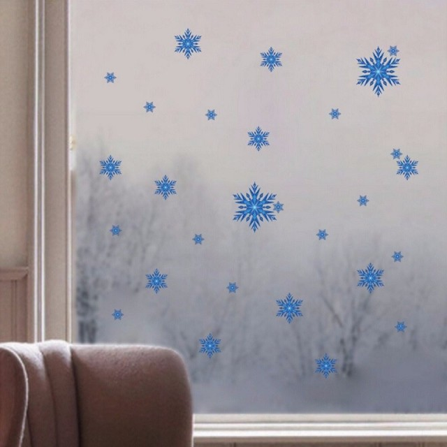 Blue Snow For Frozen Wall Sticker Christmas Art Snowflake Decals Home  Window Decor Gift DIY For