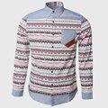 Los hombres de Mezclilla Camisas Estampado Geométrico Camisas Sociales de Manga Larga Bolsillos En El Pecho Partido Tendencia Diseñador de Vaquero Desgaste